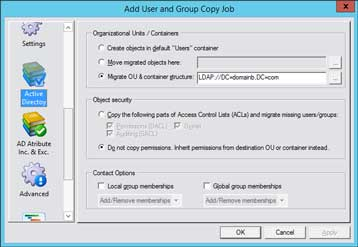 CopyRight2 Active Directory Attribute Migration Settings