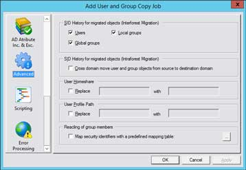 CopyRight2 Active Directory sidHistory Migration Settings